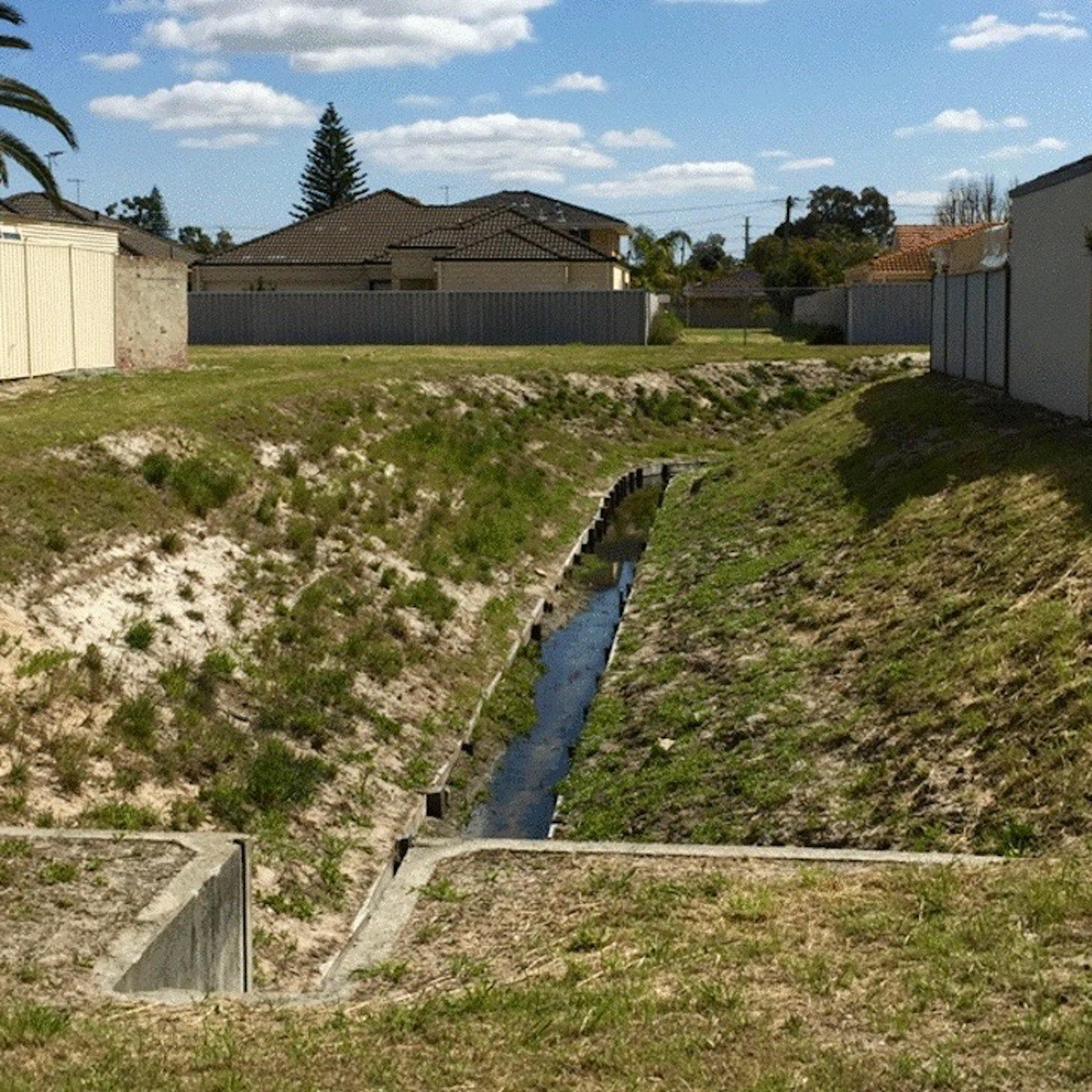 Image of an open suburban drain