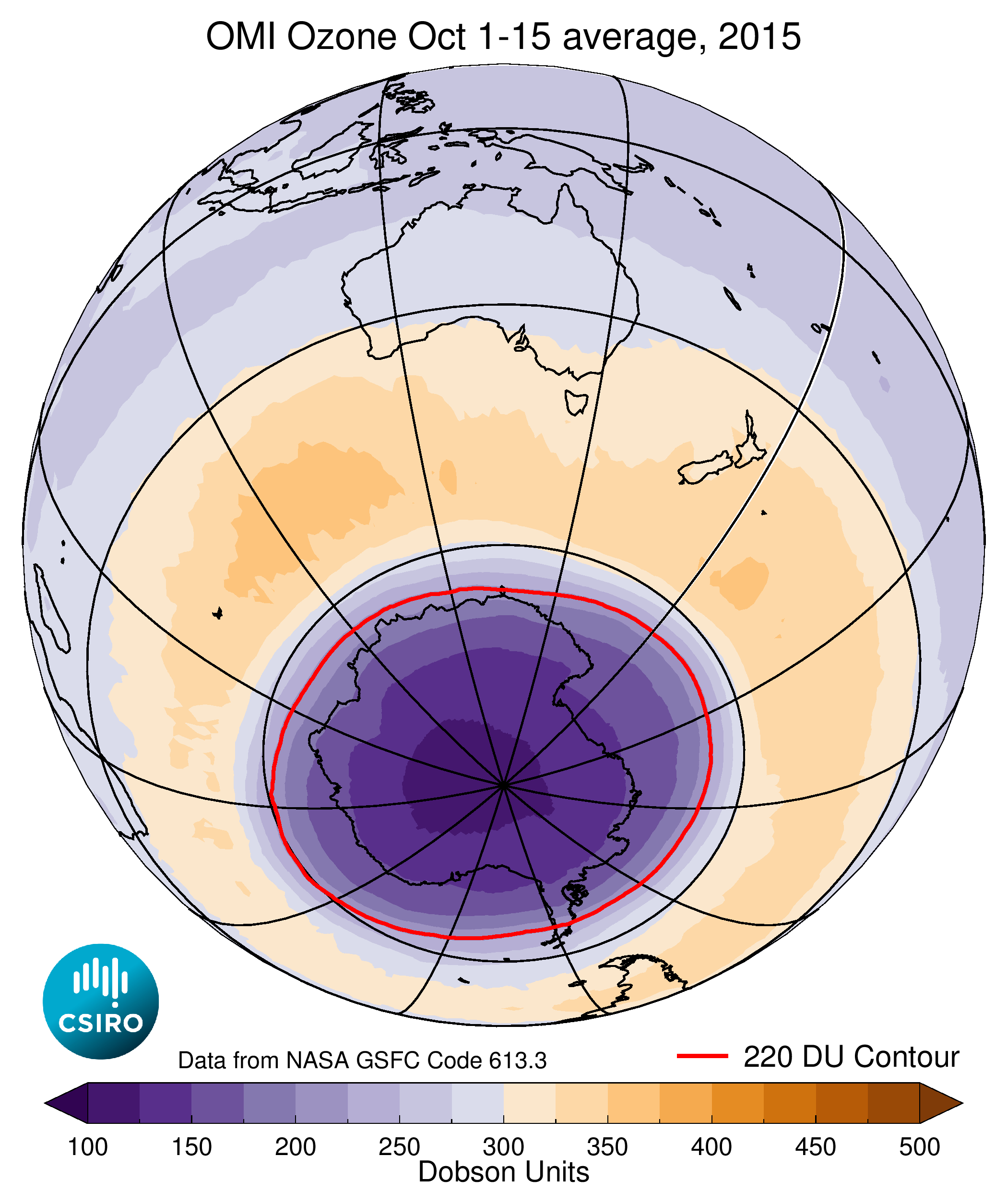 representation of Average ozone concentrations over the southern hemisphere during October 1-15, 2015
