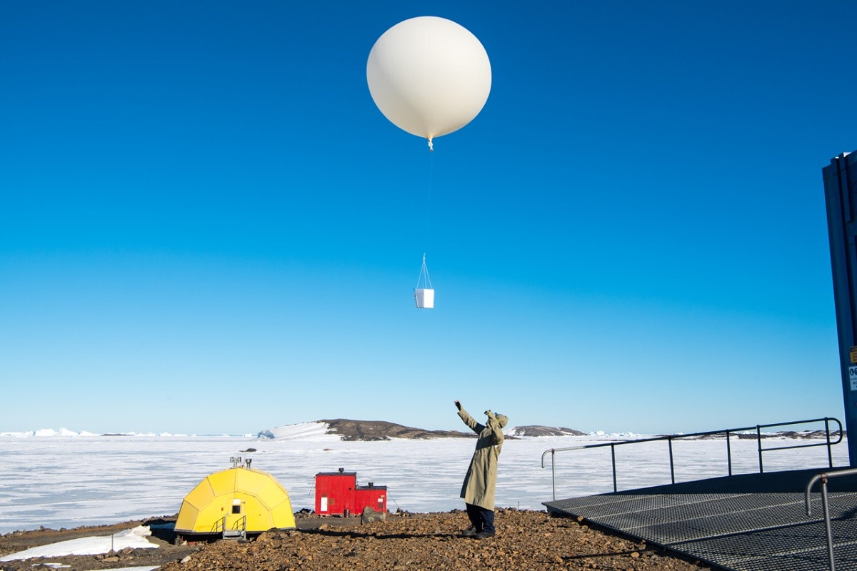 Picture of Launching an ozone-measuring balloon from Australia's Davis Research Station in Antarctica