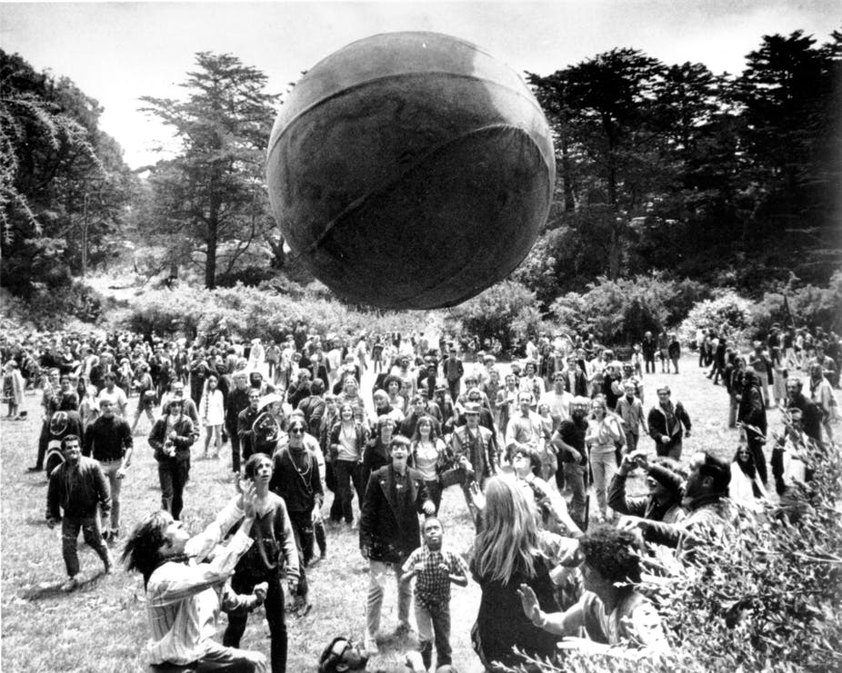 A crowd at Golden Gate Park in San Francisco celebrates day one of the 'Summer of Love.' AP Photo