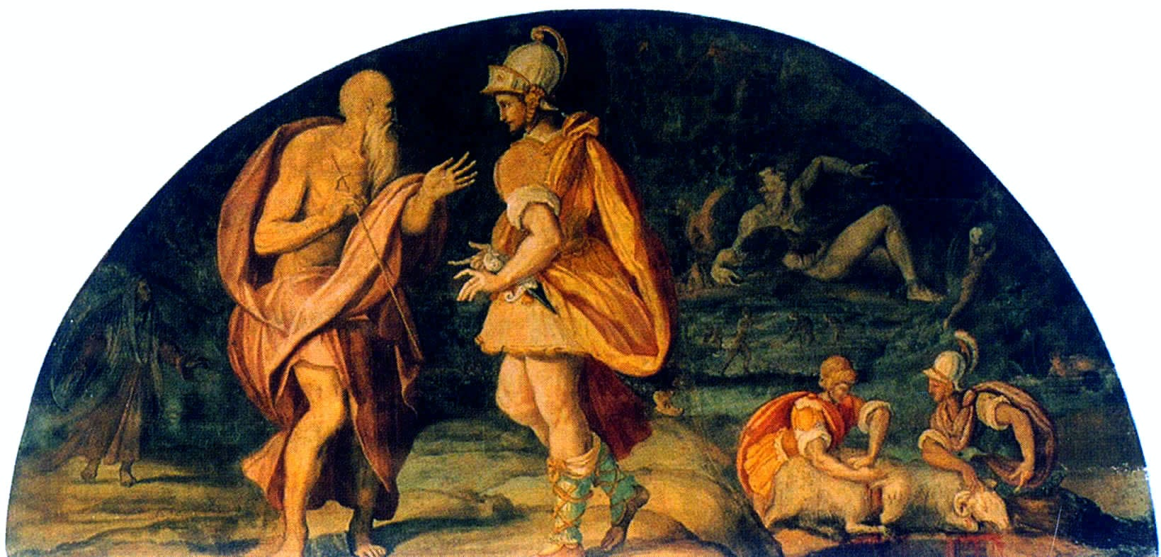 Picture of Alessandro Allori (1580) Odysseus questions the seer Tiresias.