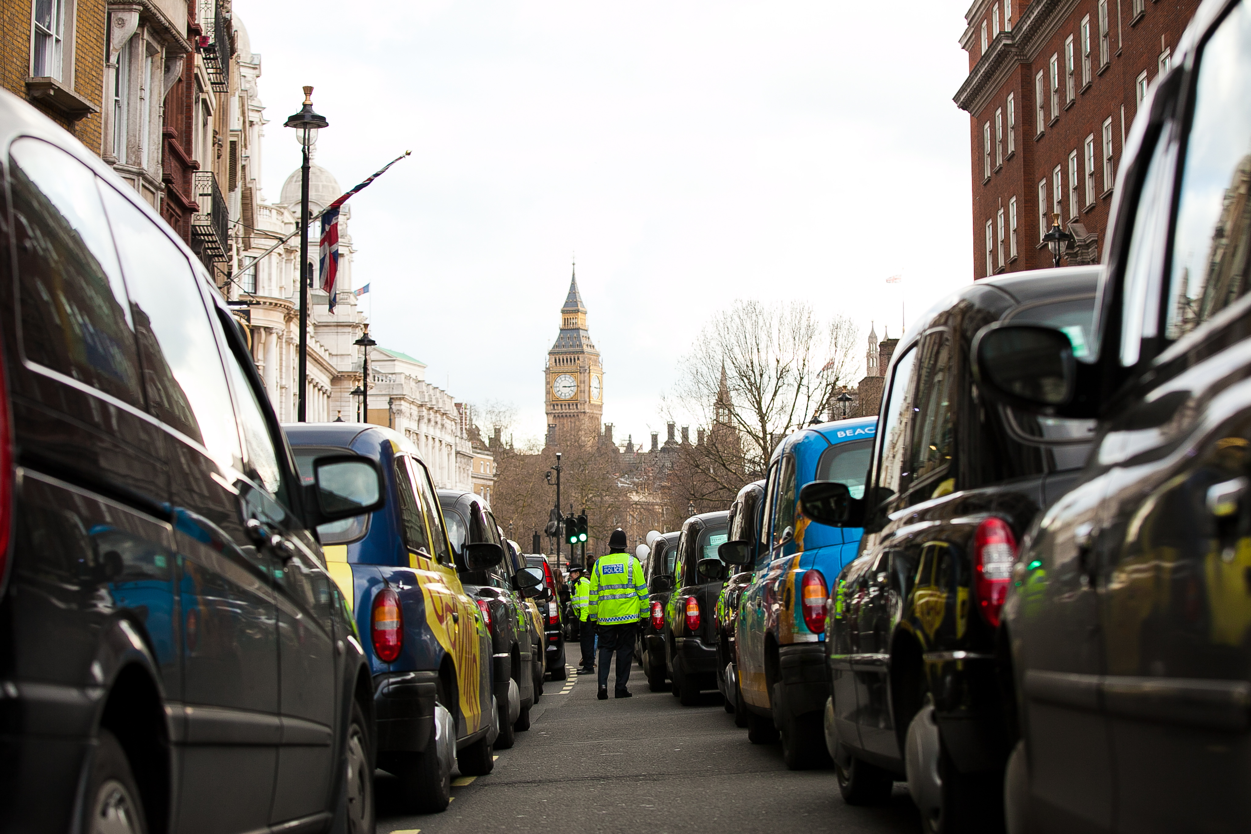 Stopping traffic black cab drivers protest against Uber in 2016.     Dinendra Haria