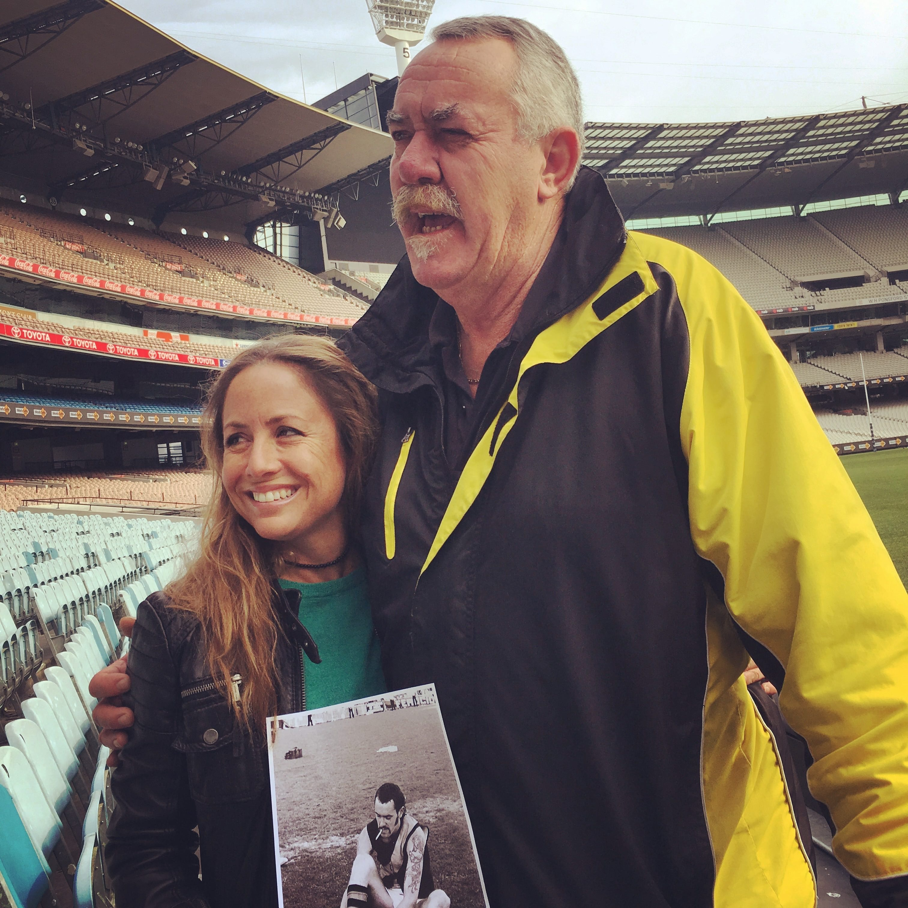 Photograph of Clare Wright with 'Bones' at the MCG