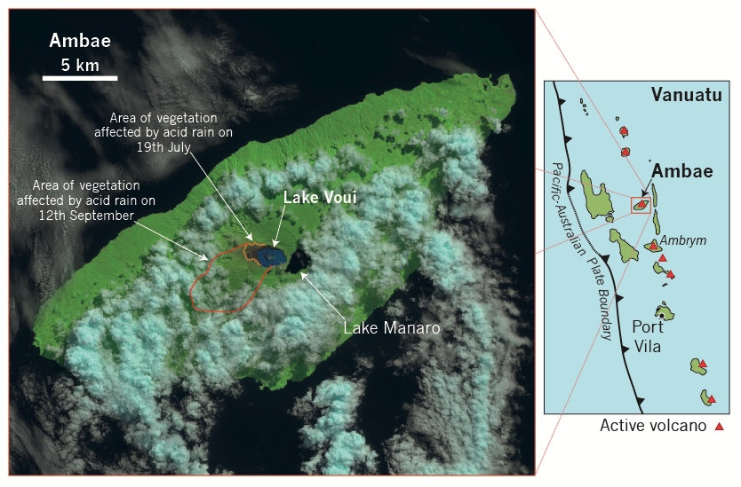 An annotated Landsat Image of Ambae Island taken on 19th July 2017. Look at the difference in colour of the two lakes on the summit of the volcano. Since this image was taken activity at the volcano has increased markedly. C. Firth, Author provided